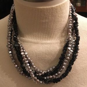 7 Strand Pearl, Crystal, and Black Stone Necklace